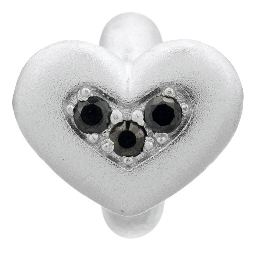 Endless Jewelry Black Triple Love Charm - Silver