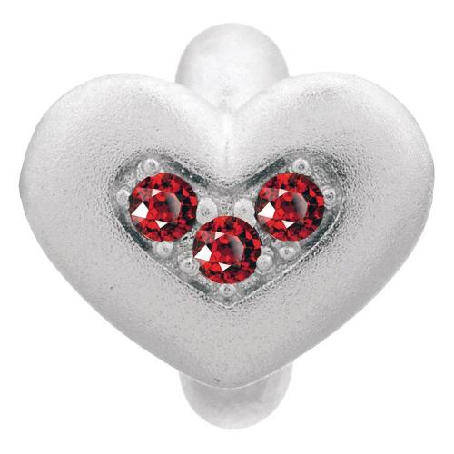 Endless Jewelry Garnet Triple Love Charm - Silver