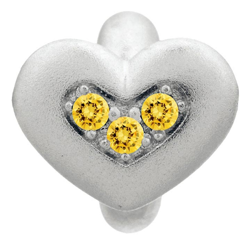 Endless Jewelry Citrine Triple Love Charm - Silver