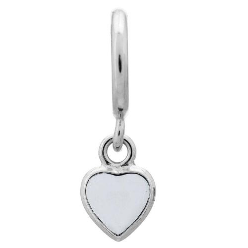 Endless Jewelry White Enamel Heart Drop Charm - Silver