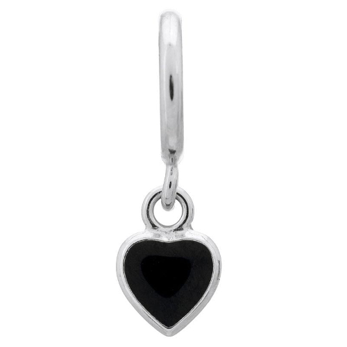 Endless Jewelry Black Enamel Heart Drop Charm - Silver