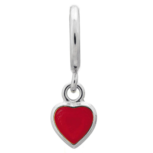 Endless Jewelry Red Enamel Heart Drop Charm - Silver