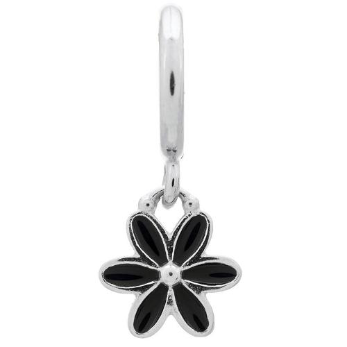 Endless Jewelry Black Enamel Flower Drop Charm - Silver