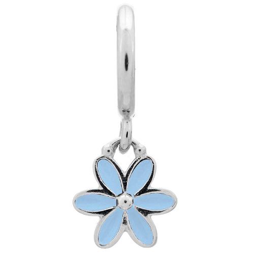 Endless Jewelry Light Blue Enamel Flower Drop Charm - Silver