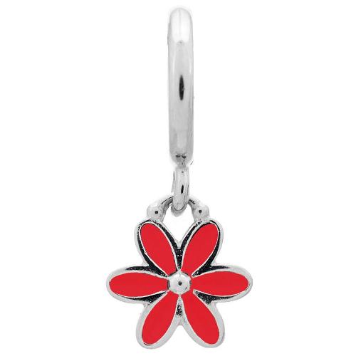 Endless Jewelry Red Enamel Flower Drop Charm - Silver