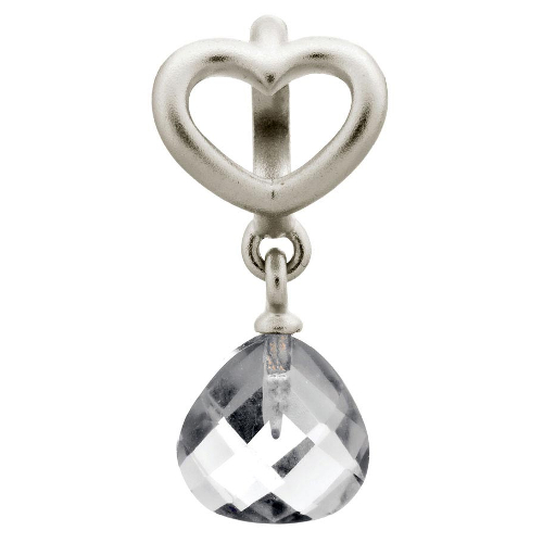 Endless Jewelry Clear Heart Grip Drop Charm - Silver