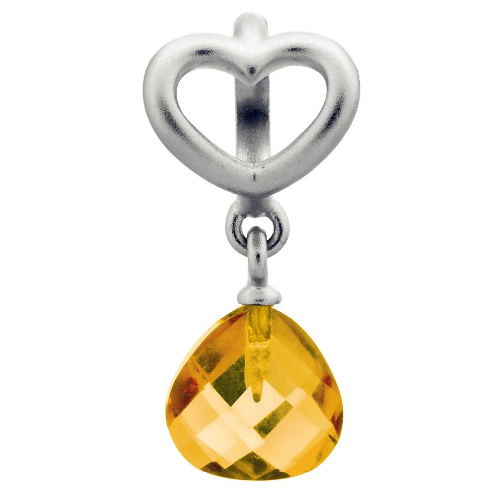 Endless Jewelry Citrine Heart Grip Drop Charm - Silver