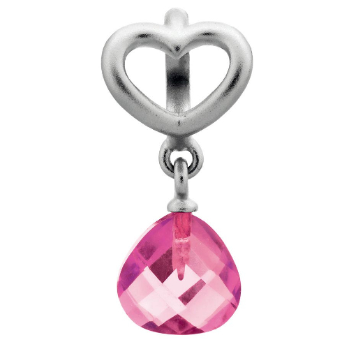 Endless Jewelry Rose Heart Grip Drop Charm - Silver