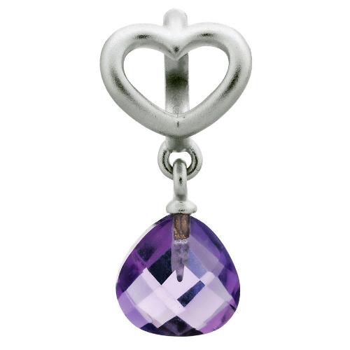 Endless Jewelry Amethyst Heart Grip Drop Charm - Silver