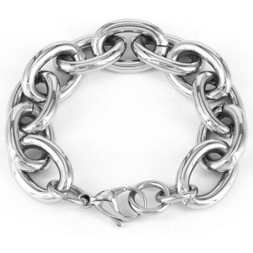Elya Stainless Steel Over-Sized Chain Link Bracelet - Silver 22C-ME9-WCJB9340
