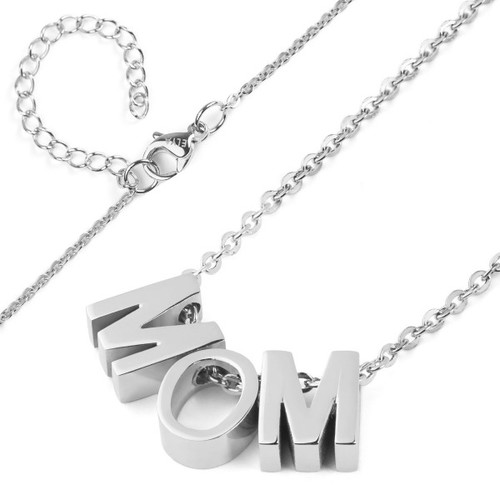 Elya Stainless Steel 'MOM' Pendant Necklace - Silver