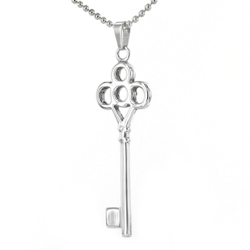 """Elya 24"""" Ball Chain Stainless Steel Clover-Style Key Necklace - Silver"""