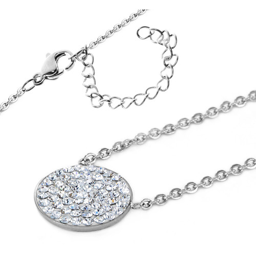 Elya Stainless Steel Crystal Circle Pendant Necklace - Silver