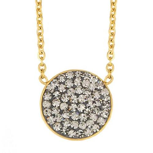 Elya Gold-Plated Stainless Steel Hematite Crystal Inlay Circle Necklace - Gold/Hematite