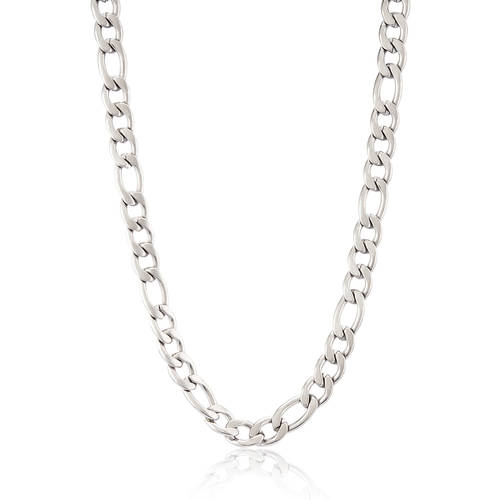 Crucible Stainless Steel Figaro Chain Necklace - Silver
