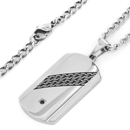 Crucible Stainless Steel Black Cubic Zirconia Dog Tag Necklace - Black/Silver