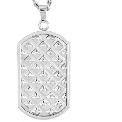 Crucible Stainless Steel Polished Pyramid Textured Dog Tag Pendant - Silver