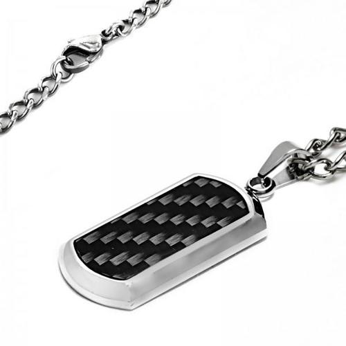 Crucible Black Plated Stainless Steel Black Carbon Fiber Dog Tag Pendant - Black/Silver