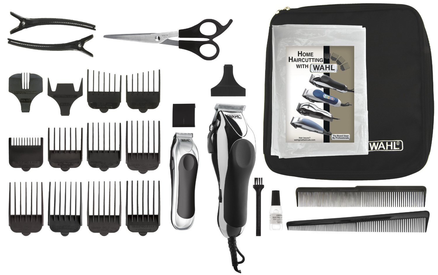 Wahl Deluxe Chrome Pro 25 piece Haircutting Kit 22H-023-79524/5201