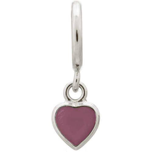Endless Jewelry Violet Enamel Heart Drop Charm - Silver
