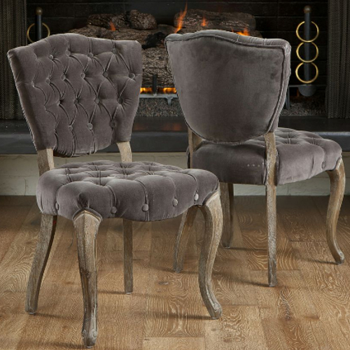 Bates Tufted Dining Chairs 2pc Set Charcoal