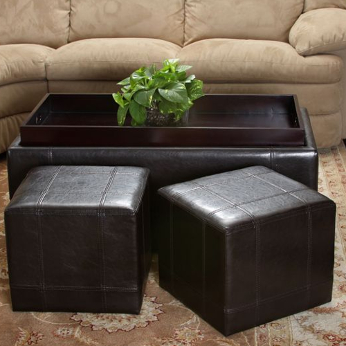 Andre Leather Ottoman 3 pc Set Brown