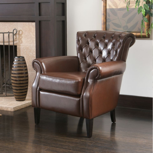 Franklin Tufted Leather Club Chair Brown