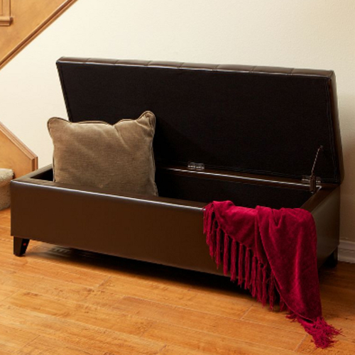 Mission Tufted Leather Storage Ottoman Brown
