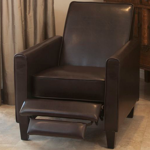 Leather Recliner Club Chair Brown