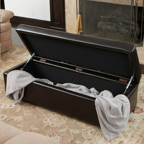 London Leather Storage Ottoman Espresso