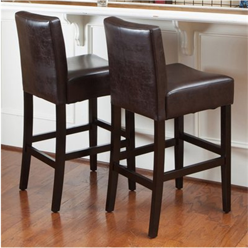KD Bonded Leather Barstool 2pc Set Brown