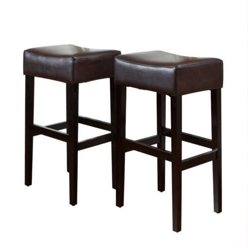 KD Bonded Leather Backless Barstool 2pc Brown