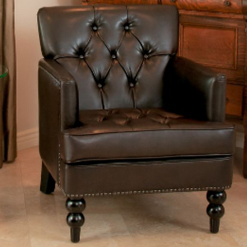 Malone Bonded Leather Club Chair Brown
