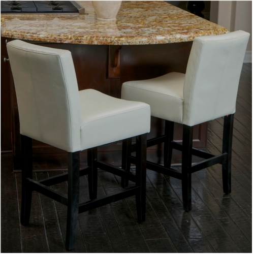 Lopez Leather Counterstools 2pc Set Ivory