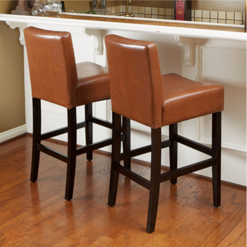 Lopez Leather Counterstools 2pc Set Hazelnut