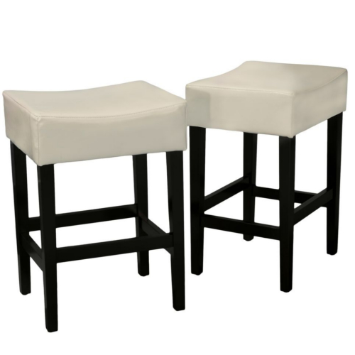 Lopez Backless Leather Counterstools 2pc Set Ivory