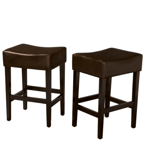 Lopez Backless Brown Leather Counterstools 2pc Set Brown