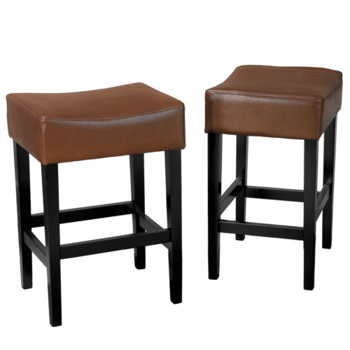Lopez Backless Brown Leather Counterstools 2pc Set Hazelnut
