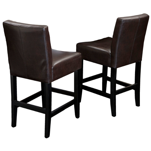 Lopez Leather Counterstools 2pc Set Brown