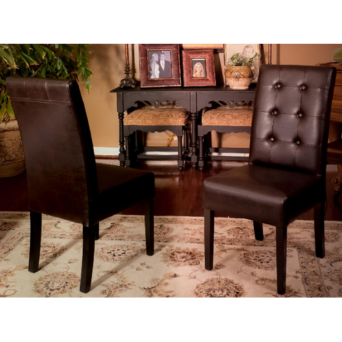 Alberta Tufted Leather Dining Chairs 2pc Set Espresso