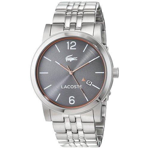 Lacoste Men's Metro Grey Dial Stainless Steel Bracelet Watch - Silver