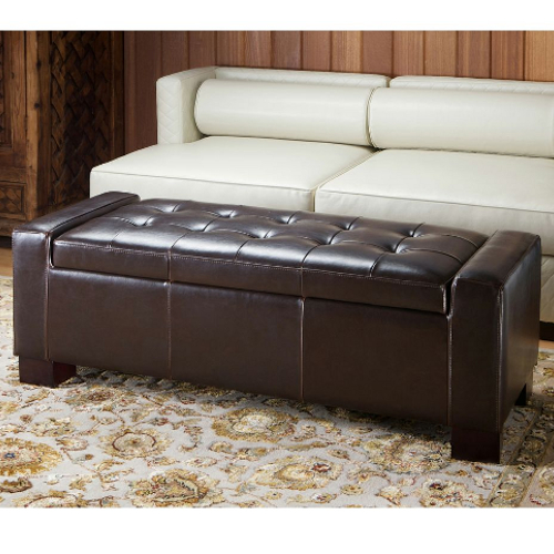 Guernsey Leather Storage Ottoman Brown