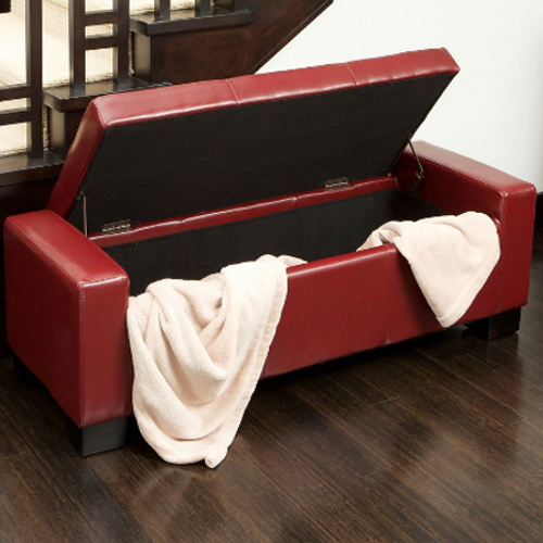 Guernsey Leather Storage Ottoman Red