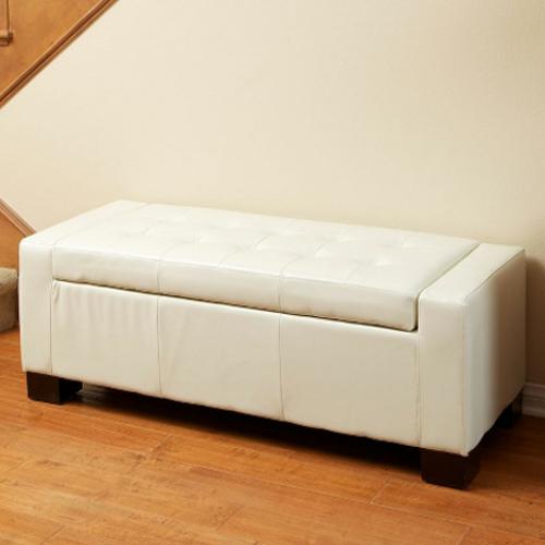 Guernsey Leather Storage Ottoman White