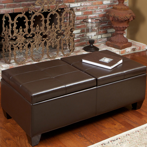 Alfred Leather Storage Ottoman Brown