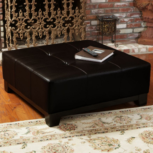 Darlington Leather Storage Ottoman Espresso Brown
