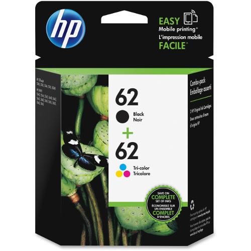 HP 62 Black/62 Tri-Color Ink Cartridge - 2 Pack