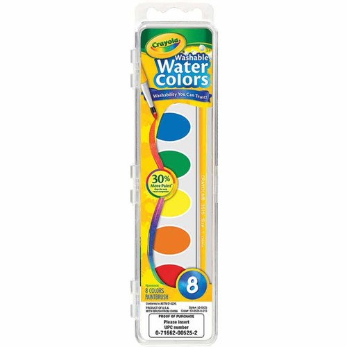 Crayola Washable Watercolors Set - 8 Count 12M-S50-530525