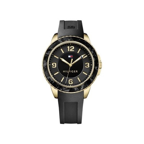 Tommy Hilfiger Women's Black Dial Silicone Strap