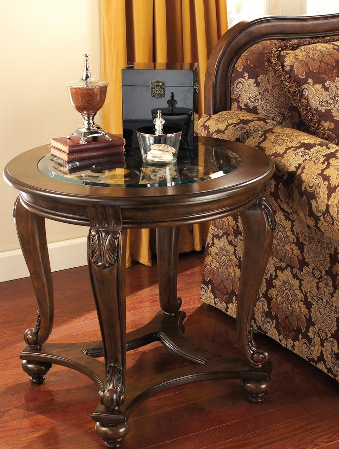 Signature Design by Ashley Norcastle Round End Table - Dark Brown